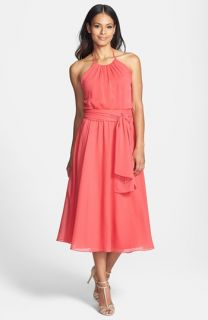 Isaac Mizrahi New York Belted Chiffon Halter Dress
