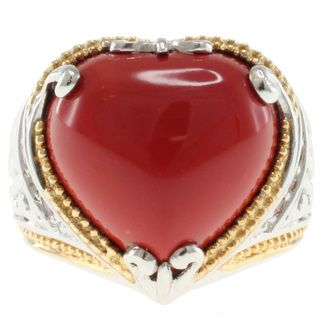 Michael Valitutti Two Tone Reconstituted Coral Heart Ring Michael Valitutti Gemstone Rings