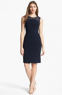 Adrianna Papell Lace Yoke Shutter Pleat Sheath Dress