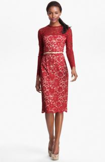 Maggy London Embroidered Lace Overlay Midi Dress (Regular & Petite)