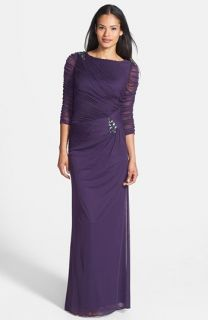 Adrianna Papell Sheer Sleeve Ruched Mesh Gown (Regular & Petite)
