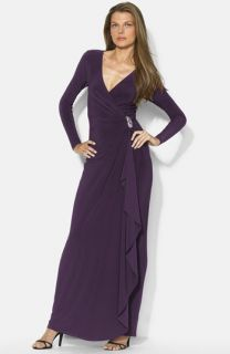 Lauren Ralph Lauren Long Faux Wrap Matte Jersey Dress (Regular & Petite)
