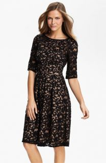 Adrianna Papell Lace Overlay Fit & Flare Dress (Regular & Petite)