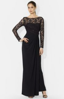 Lauren Ralph Lauren Long Sleeve Sequin Lace Bodice Gown