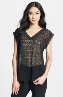 Eileen Fisher Cutout V Neck Cap Sleeve Top (Regular & Petite)