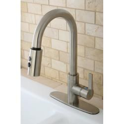 Modern Satin Nickel Single Handle Faucet with Pull Down Spout Kitchen Faucets