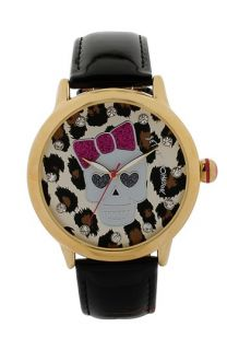 Betsey Johnson Skull Dial Leather Strap Watch, 41mm