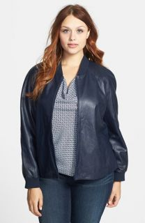 Halogen® Embossed Leather Jacket (Plus Size)