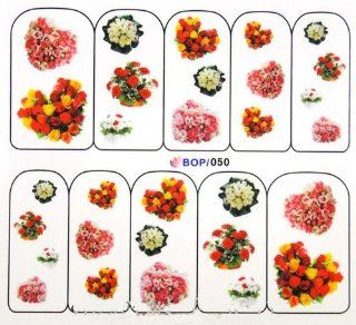 Egoodforyou BLE Water Slide Water Transfer Nail Tattoo Nail Decal Sticker Oil Portray (Bunches of Roses Flowers) with one packaged nail art flower sticker bonus Beauty