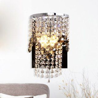 Modern Luxury Smoke Grey Crystal Hanging Corridor LED Wall Light Bedroom Polished chrome Hallway Bathroom Wall Lamps with switch   Wall Sconces