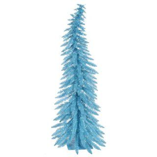 Vickerman 100 Piece Whimsical Ornament with 193 Tips, Sky Blue, 5 Feet by 24 Inch   Vickerman Sky Blue Whimsical Christmas Tree