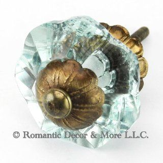 Arctic Blue Glass Cabinet Knobs, Dresser Drawer & Handles Set/10pc ~ K187FF Art Deco Glass Knobs w/Antique Brass Florentine Hardware for Armoire, Kitchen Cabinets, Cupboards, and Second Hand Furniture