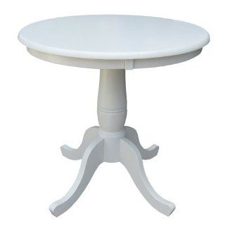 "30"" Round Pedestal Dining Table (Linen White) (30""H x 30""W x 30""D)   Dining Table Round White Two Tone"