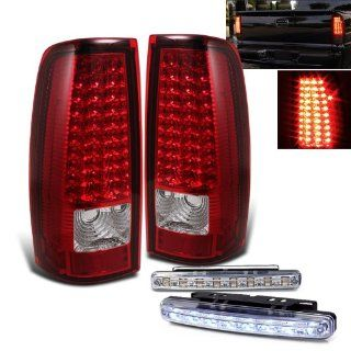 Rxmotoring 1999 2002 Chevy Silverado Pick Up Led Tail Lights + 8 Led Bumper Fog Light Automotive