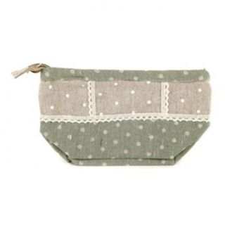 Green Polka Dot Fabric Cosmetic Bags Clothing