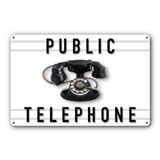Public Telephone Tin Metal Sign, Western Electric Model 202  17.5 x 11.5 inches [AYY015]   Decorative Signs