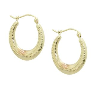 Gioelli 14k Tri color Gold Diamond cut Beaded style Hoop Earrings Gold Earrings