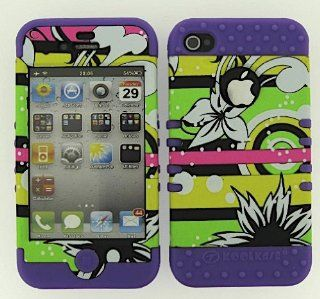 3 IN 1 HYBRID SILICONE COVER FOR APPLE IPHONE 4 4S HARD CASE SOFT LIGHT PURPLE RUBBER SKIN FLOWERS LP TE205 KOOL KASE ROCKER CELL PHONE ACCESSORY EXCLUSIVE BY MANDMWIRELESS Cell Phones & Accessories