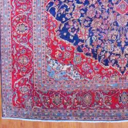 Persian Hand knotted Kashan Navy/ Red Wool Rug (9'7 x 13'11) 7x9   10x14 Rugs