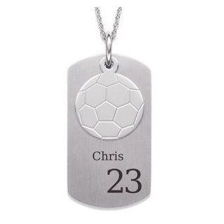 Stainless Steel Soccer Engraved Dog Tag Necklace Jewelry