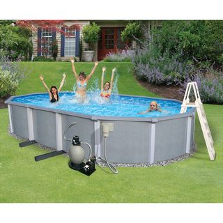 Zanzibar 18x33 foot Oval 54 inch Above ground Pool and Kit Swim Time Above Ground Pools