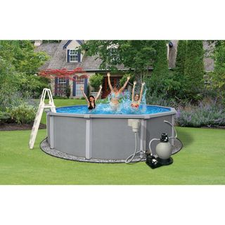 Zanzibar Above Ground Hybrid 24 foot Round Swimming Pool Package Swim Time Above Ground Pools