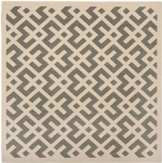 Safavieh CY6915 236 Courtyard Collection Indoor/Outdoor Square Area Rug, 7 Feet 10 Inch, Grey and Bone