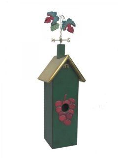 Rosso's International 1 Hole Wine Birdhouse, Green with Grapes  Bird Houses  Patio, Lawn & Garden