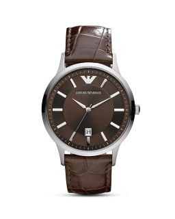 Emporio Armani Round Silver & Brown Watch with Crocodile Embossed Strap, 43mm's