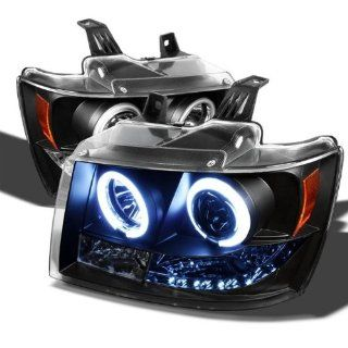 2007 2008 2009 2010 2011 2012 2013 Chevy Suburban 1500/2500 / Chevy Tahoe / Avalanche CCFL LED Headlights   Black (Replaceable LEDs) Automotive