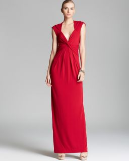Nicole Miller V Neck Gathered Waist Gown   Cap Sleeve's