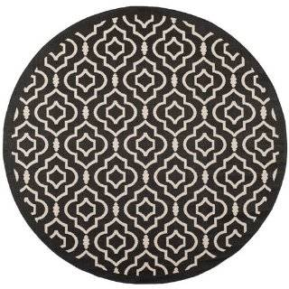 Safavieh CY6926 266 Courtyard Collection Indoor/Outdoor Round Area Rug, 7 Feet 10 Inch Diameter, Black and Beige