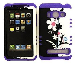 3 IN 1 HYBRID SILICONE COVER FOR HTC EVO 4G HARD CASE SOFT LIGHT PURPLE RUBBER SKIN FLOWERS LP TE272 A9292 KOOL KASE ROCKER CELL PHONE ACCESSORY EXCLUSIVE BY MANDMWIRELESS Cell Phones & Accessories