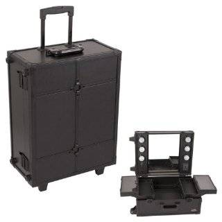 Sunrise All Black Leather Professional Wheeled Rolling Makeup Studio Case Organizer With Lights And Beauty