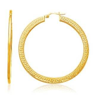 14K Yellow Gold Greek Key Extra Large Hoop Earrings with Flat Sides Jewelry