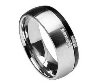 Style # 8TM284 TY0 Titanium Black & Gun Metal Split w/ 8 Round cut CZ Comfort Fit Band 8mm(5/16 inches) Jewelry