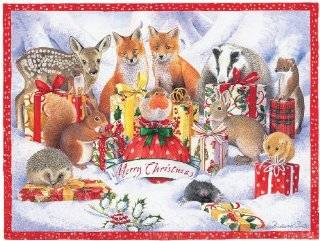 Entertaining with Caspari Christmas Flat Advent Calendar, Animals with Presents, 1 Count   Holiday Decor Advent Calendars