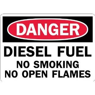 "Lyle Signs Laminated Non Reflective Vinyl On Plastic Safety Sign, ""DANGER DIESEL FUEL NO SMOKING NO OPEN FLAMES"", 10"" Length x 14"" Width, Red and Black on White"