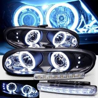 1998 2002 CHEVY CAMARO CCFL HALO PROJECTOR HEADLIGHTS + 8 LED FOG BUMPER LAMPS Automotive