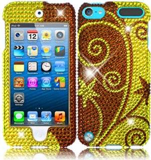For Apple Ipod Touch 5 5th Generation Full Diamond Bling Cover Case Elegant Swirl Accessory Cell Phones & Accessories