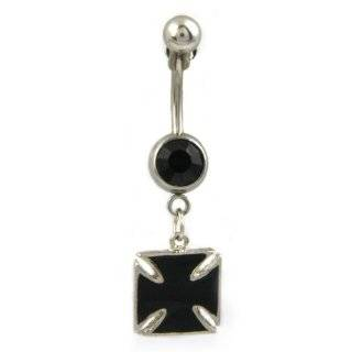 14g Surgical Steel Black Iron Cross Belly Ring w/ Black Colored Crystal Jewelry
