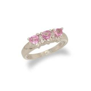 14K White Gold Trillion Cut Pink Sapphire and Diamond Ring Size 7 Enchanted Jewelry Jewelry