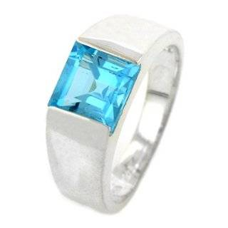 Sterling Silver Square Blue Topaz Ring Jewelry