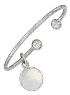 Sterling Silver Cuff Bracelet with Removable Ball and Round Tag. Jewelry