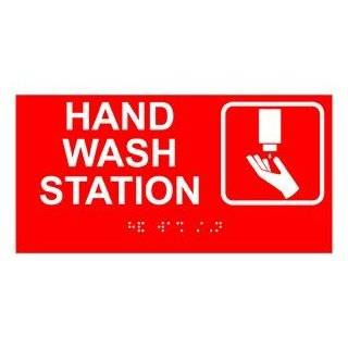 ADA Hand Wash Station Braille Sign RSME 369 SYM WHTonRed Hand Washing  Business And Store Signs
