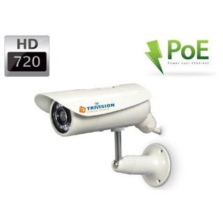 TriVision NC 326P HD 720P POE Outdoor IP Camera Waterproof with 1280 x 720 pixel Video, 45 Feet IR Night Vision, Motion Sensor Triggered Email Alerts, Built in DVR and Install in 3 steps with Our Free Dedicated Apps for iPhone, iPad, Android Smart Phone an