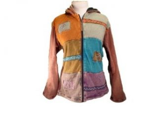 Fully Lined Patchwork Hoodie Jacket Handmade in Nepal Fair Trade RES 335 Clothing