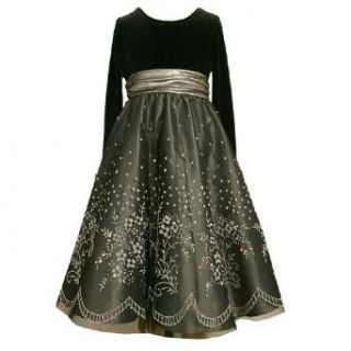 Bonnie Jean Girls 7 16 SILVER BLACK VELVET CAVIAR BEADED OVERLAY Special Occasion Wedding Flower Girl Holiday Pageant Party Dress   16 Clothing