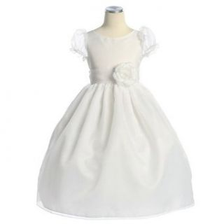 Sweet Kids Girls White Organza Puff Sleeve Communion Dress 3T Sweet Kids Clothing