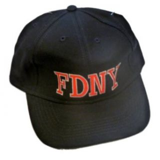 FDNY Baseball Cap Mens Black Fire Department New York Ball Cap Adjustable Hat Clothing